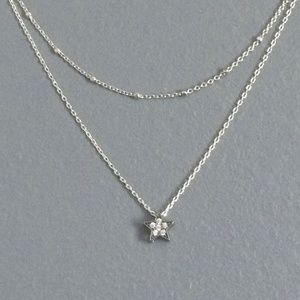 layered dainty black cz star silver necklace small